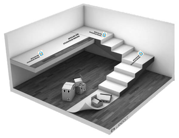 schutzvlies mit aufgedrucktem stuckateur logo fachverband der stuckateure saf. Black Bedroom Furniture Sets. Home Design Ideas